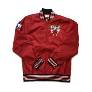 Chaqueta Mitchell & Ness Chicago Bulls Nylon 1/4 Zip Pullover